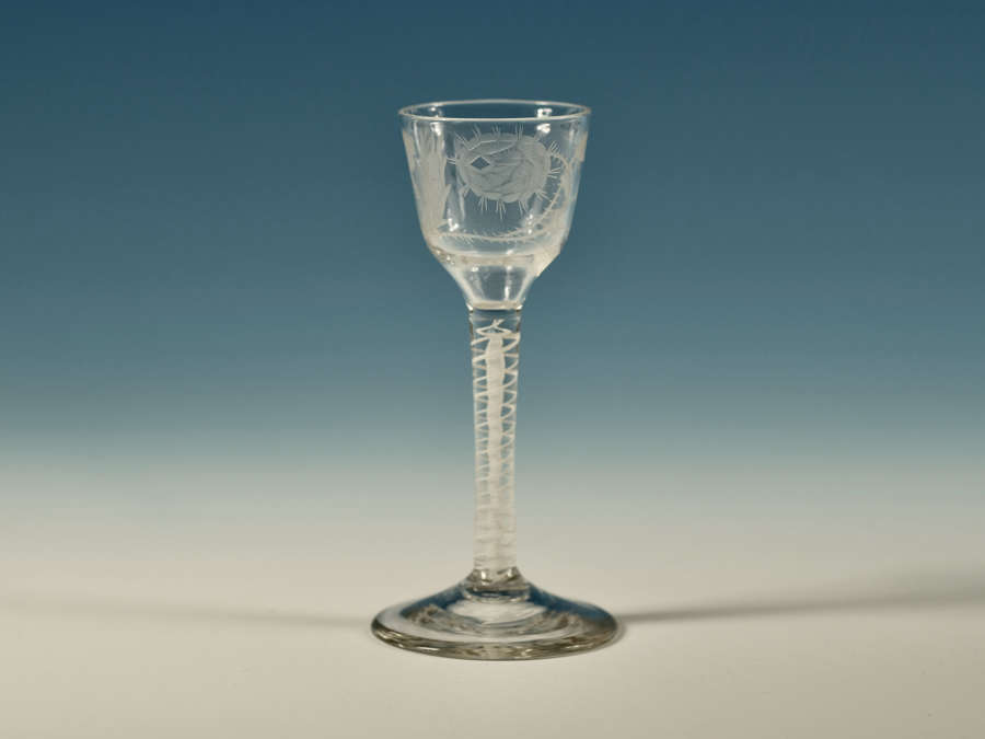 Opaque twist Jacobite wine glass English c1765