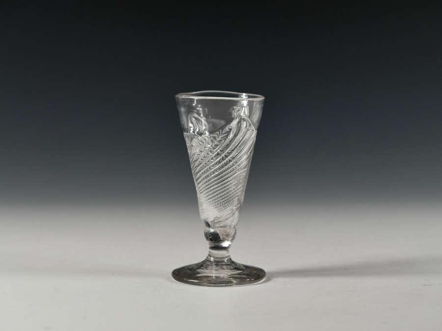 Dwarf ale glass with flammiform moulding English c1760