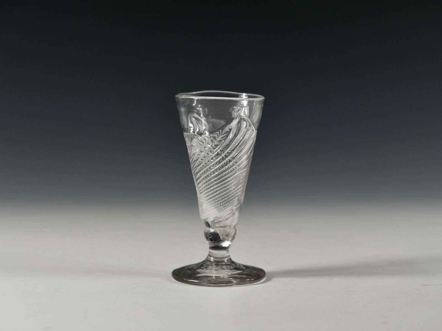 Dwarf ale glass with flammiform moulding English c1760
