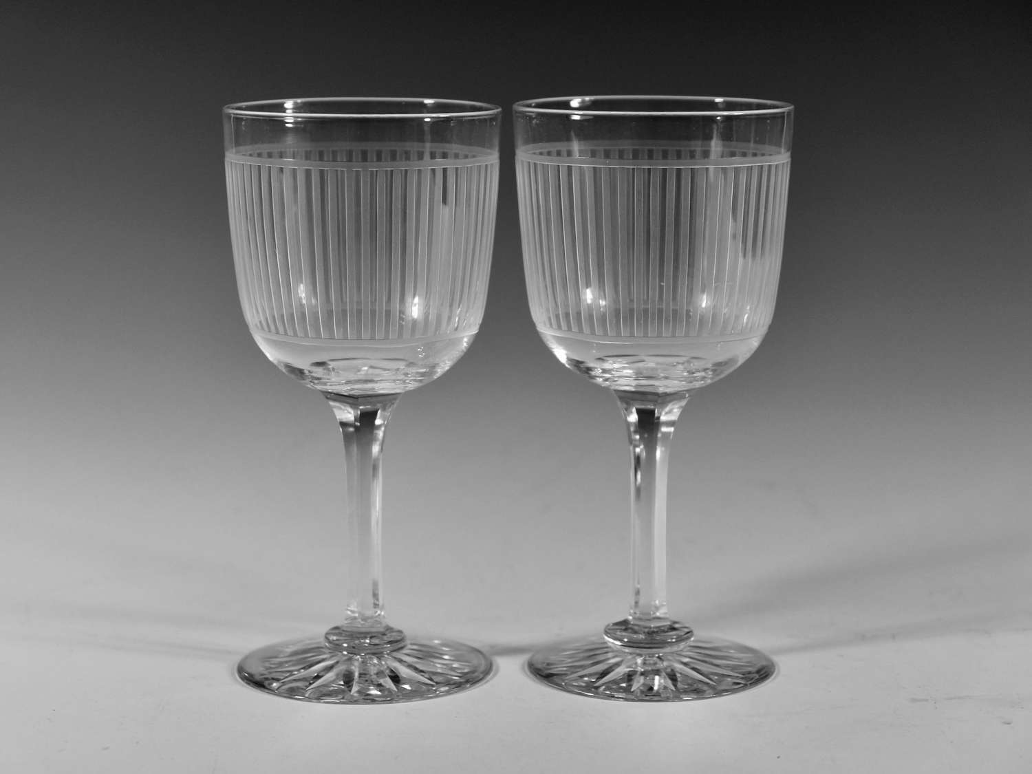 Pair of engraved goblets English c1880