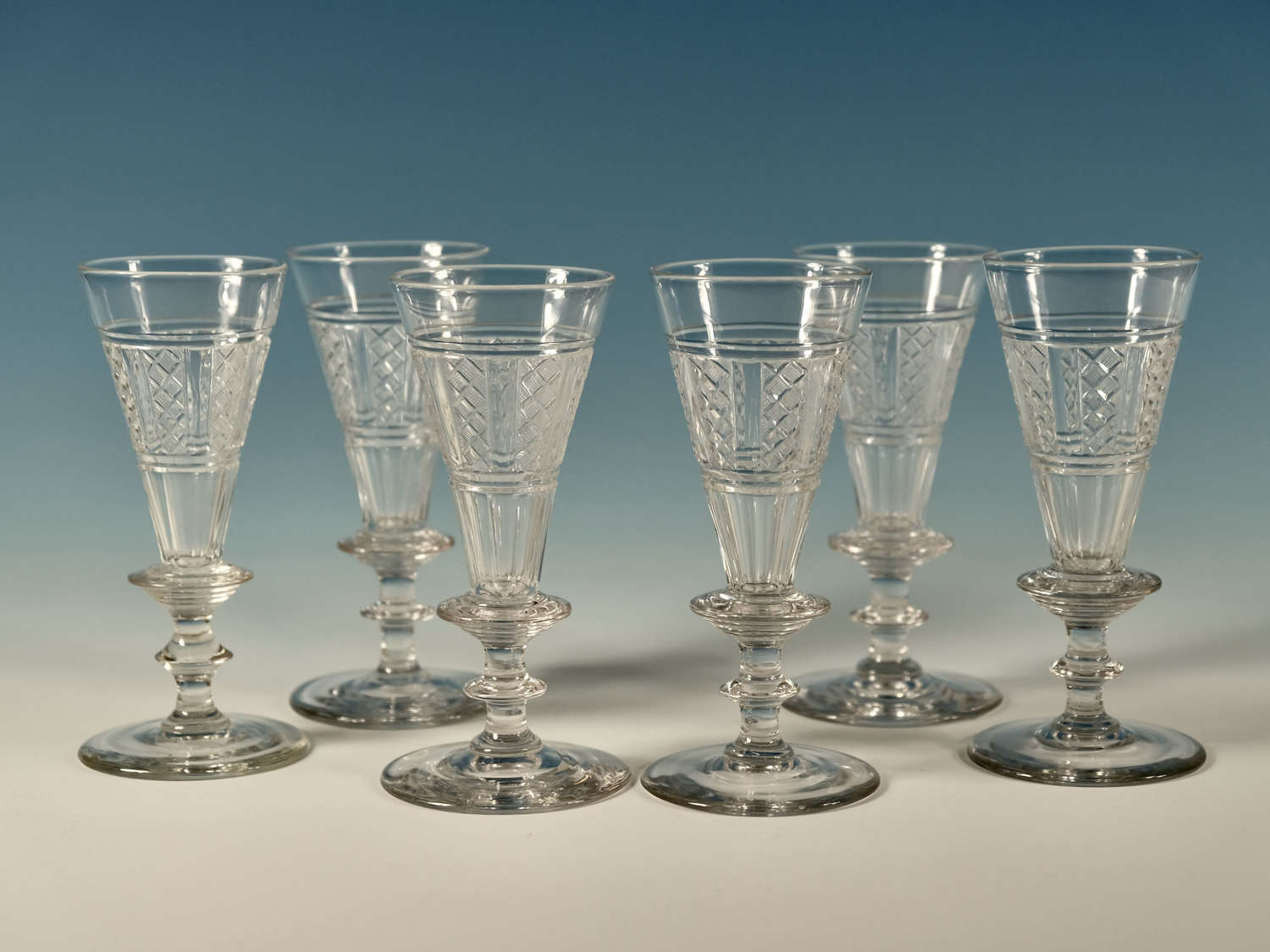 Wine flutes set of six flutes English c1810