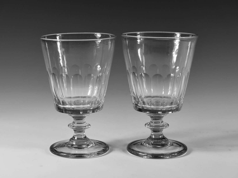 Pair of bucket bowl rummer English c1830