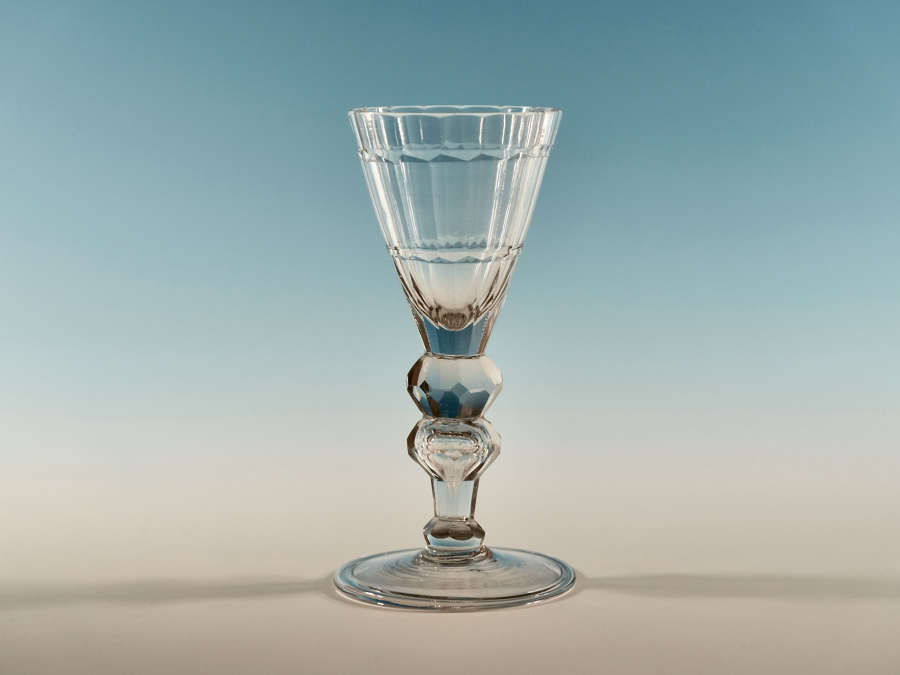 Facet cut wine glass German C1770