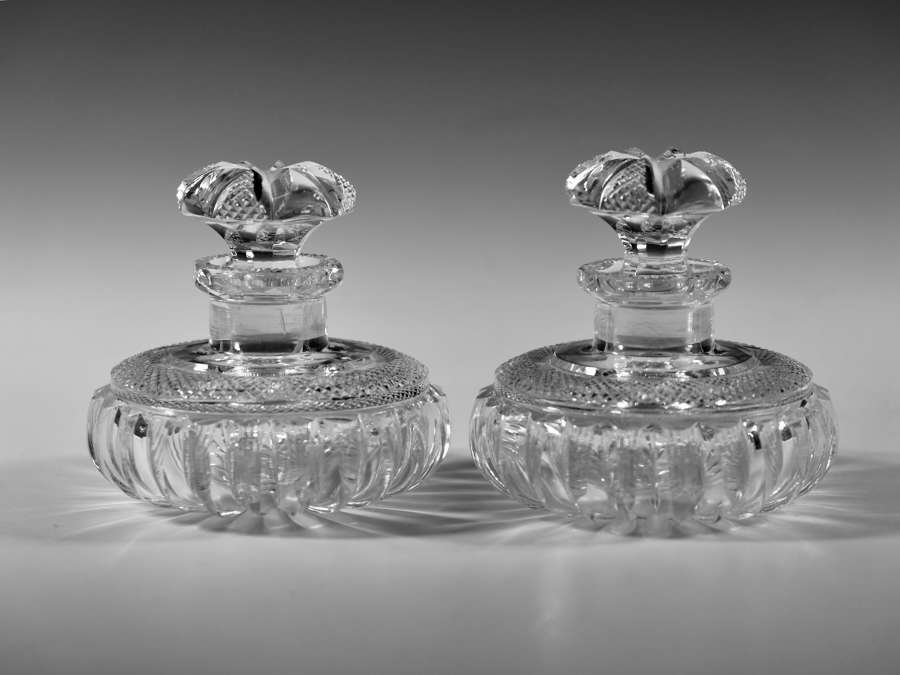Fine pair of cut glass scent bottles English c1860