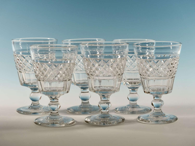 Set of six cut rummers English c1820