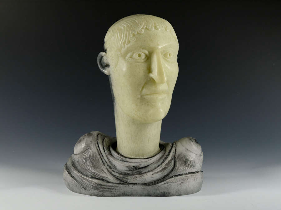 Greek Head II Cast Glass sculpture by David Reekie.
