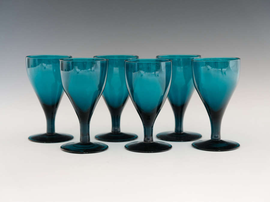 Set of six green wine glasses English c1820