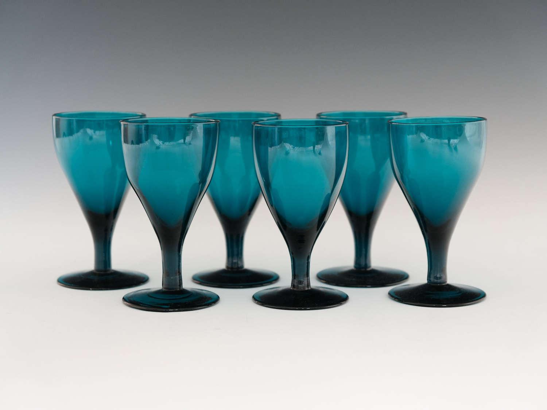 Set of six green wine glasses English c1820