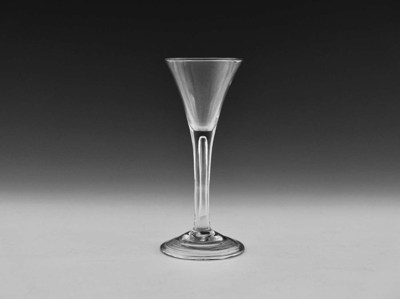Plain stem drawn trumpet wine glass c1760