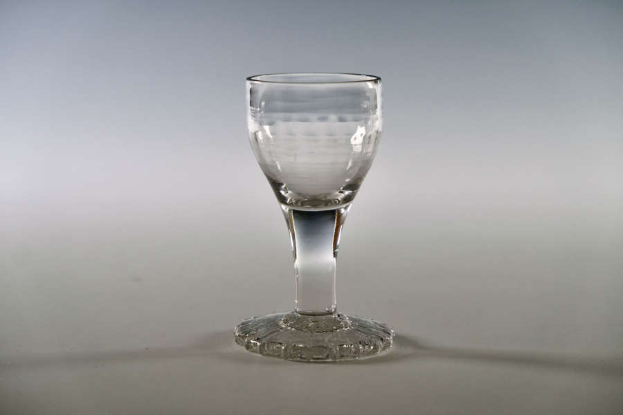 Dram glass with oversewn foot c1770