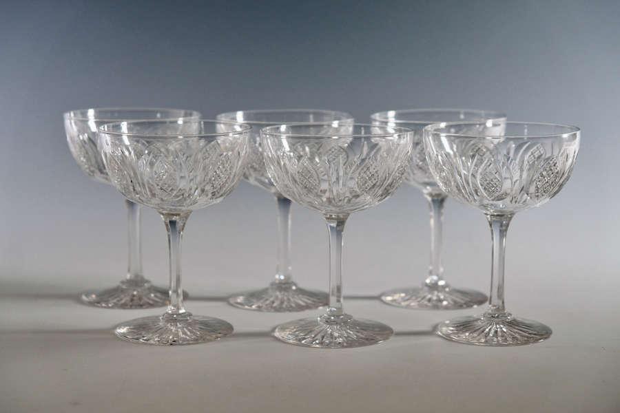 Set of six champagne glasses English c1870