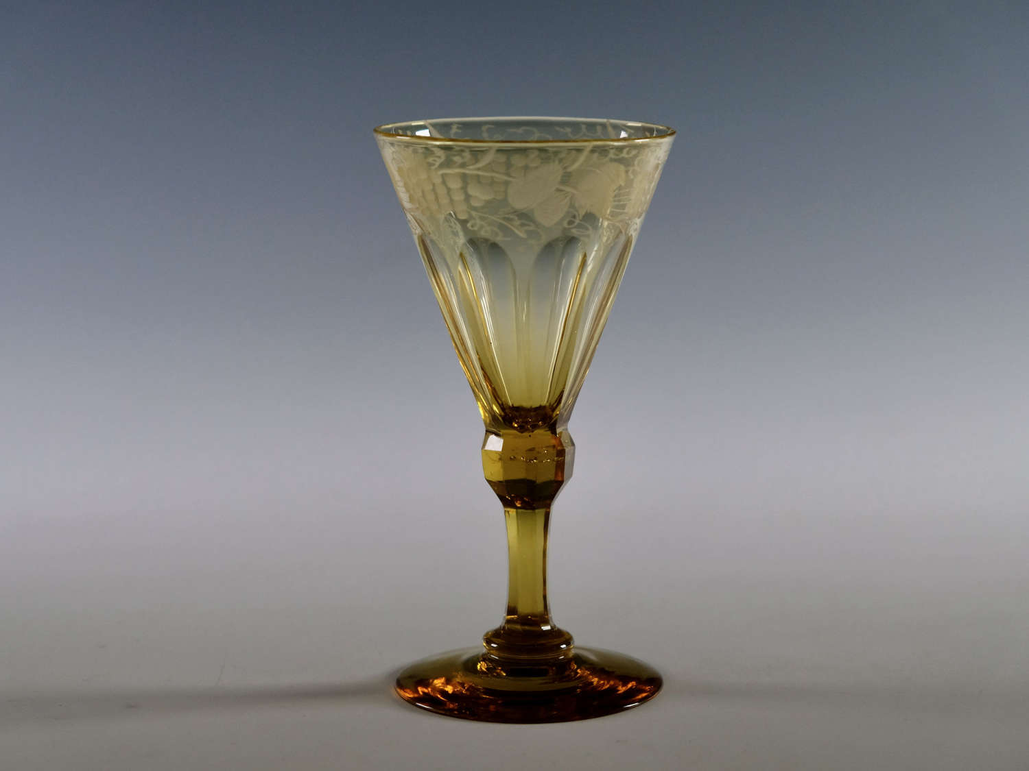 Amber wine glass English c1840