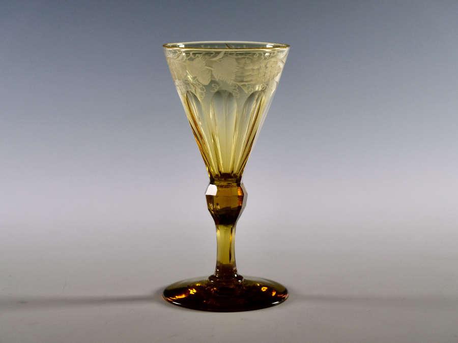 Amber wine glass English c1840