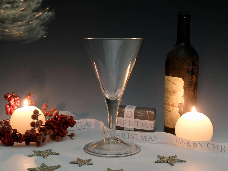 Antique wine glass plain stem English c1760