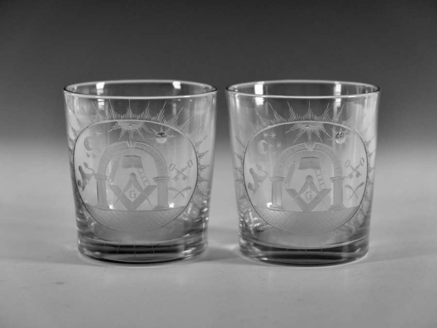 Pair of Masonic tumblers English c1820