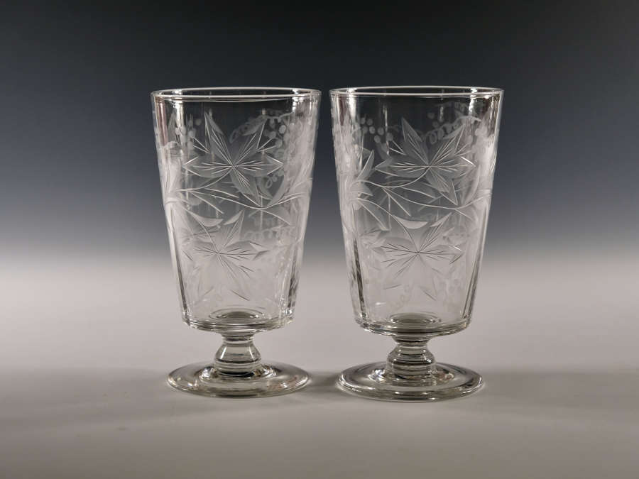 Pair of engraved goblets c1910