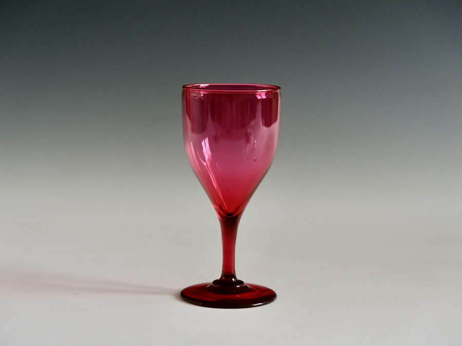 Red wine glass English c1850