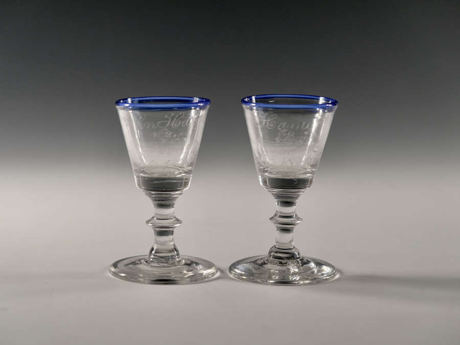 Pair of dram glass English c1820