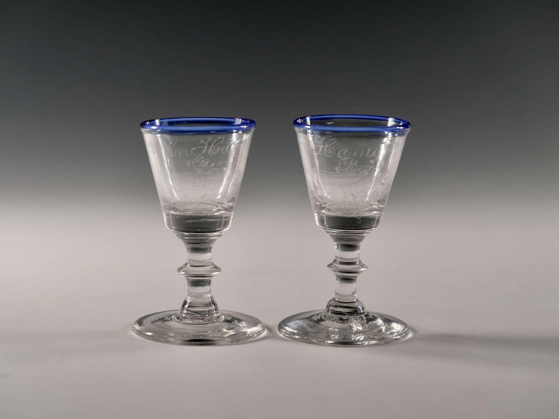 Pair of dram glass English c1820