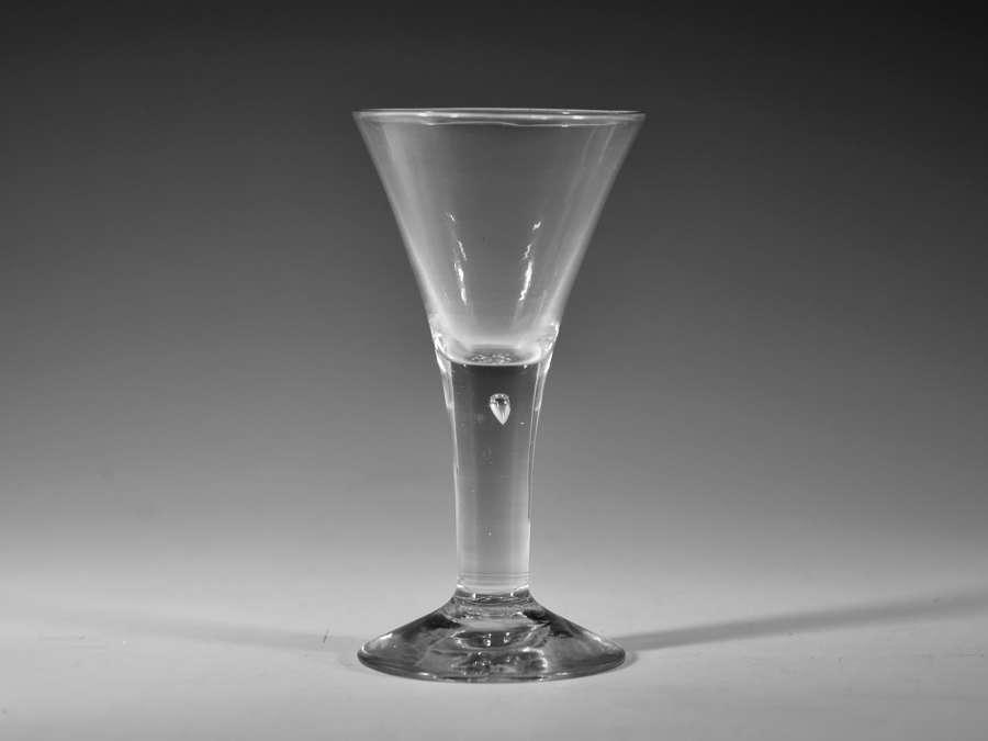 Plain stem drawn trumpet wine goblet C1750