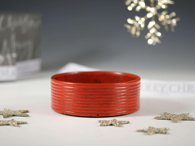 Decanter coaster in red paper-mache c1820