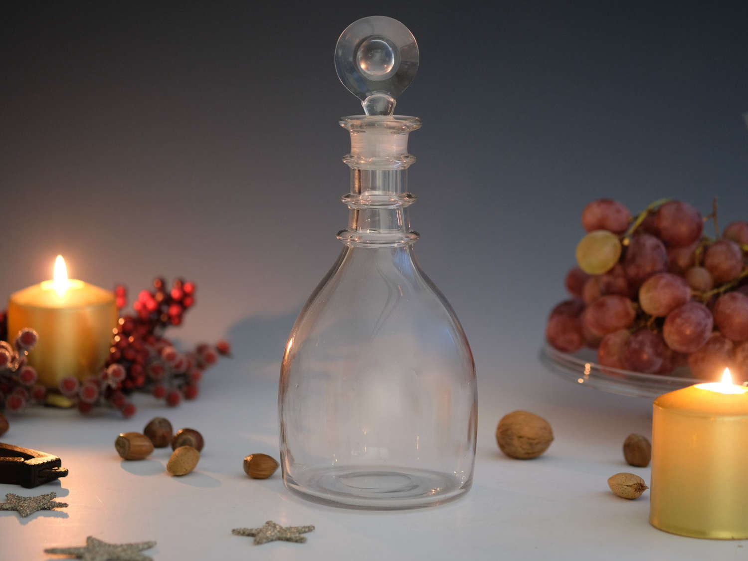 Decanter plain with three neck rings English c1820