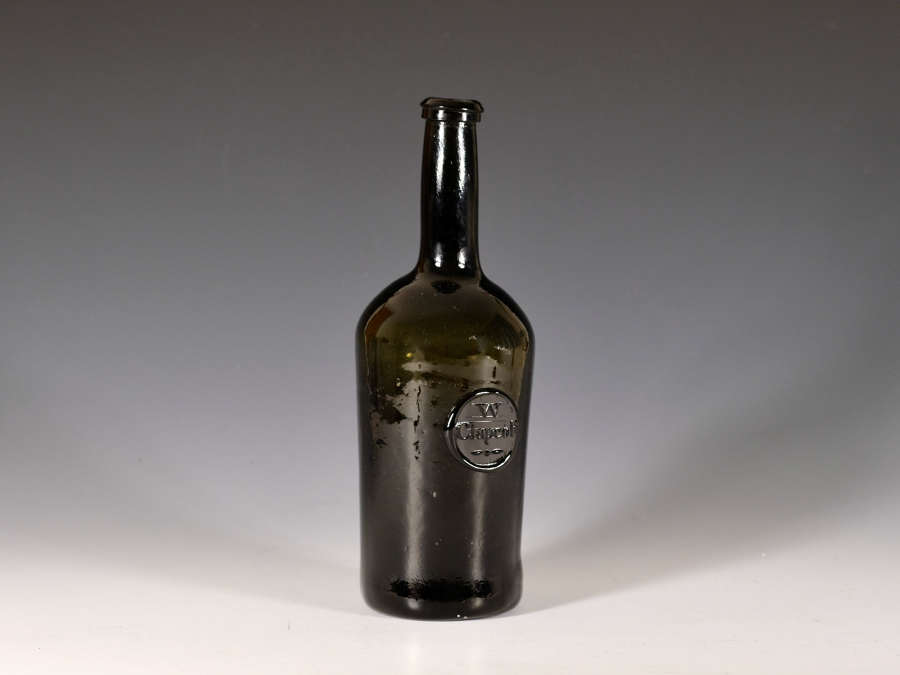 Wine bottle sealed W Clapcott c1790-1800
