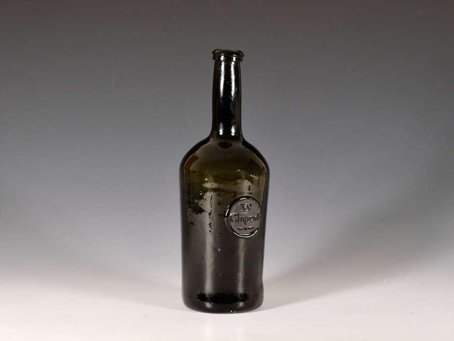 Wine bottle sealed W Clapcott c1790-1800