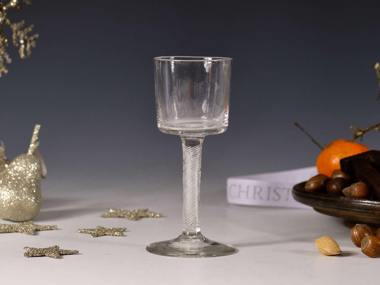 Wine glass multi spiral air twist English C1755