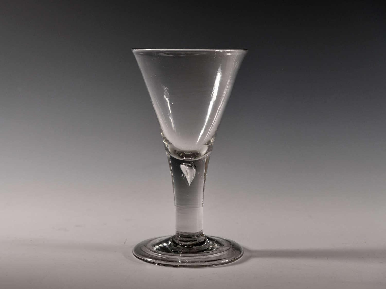 Antique wine glass plain stem English c1750