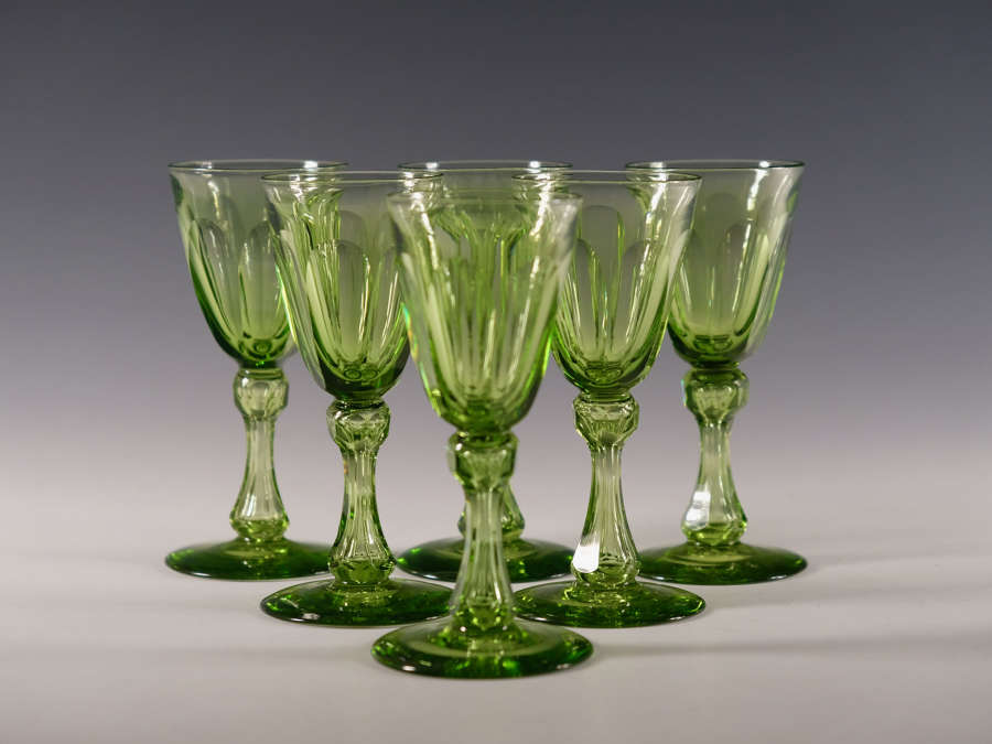Set of six antique wine glasses apple green English c1850