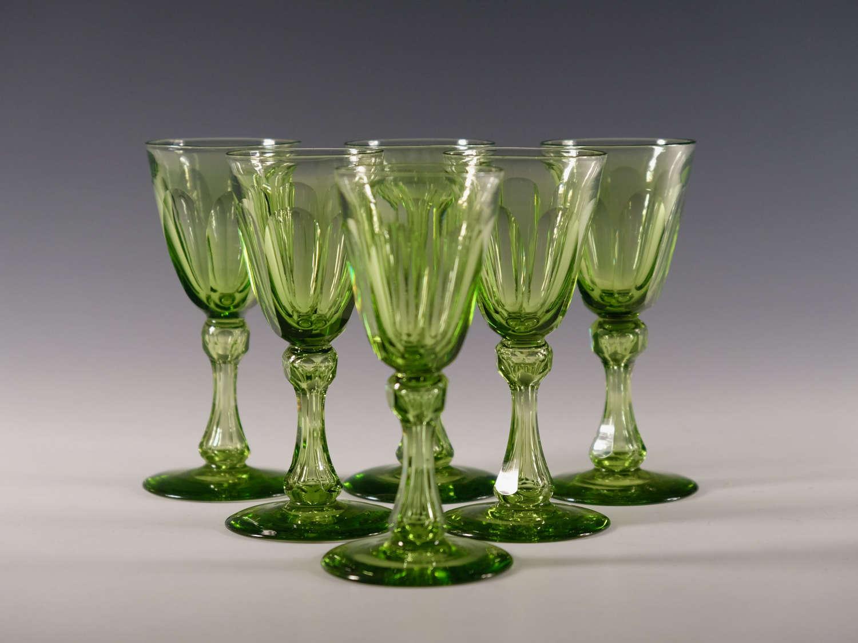 Set of six antique wine glasses apple green English c1850