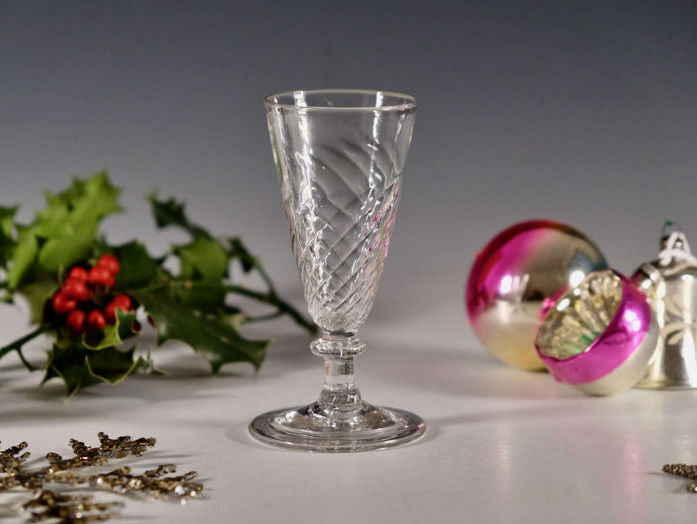 Antique wrythen ale glass English c1790