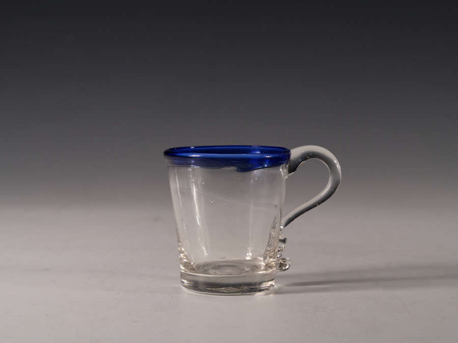 Antique punch cup blue rim C1820