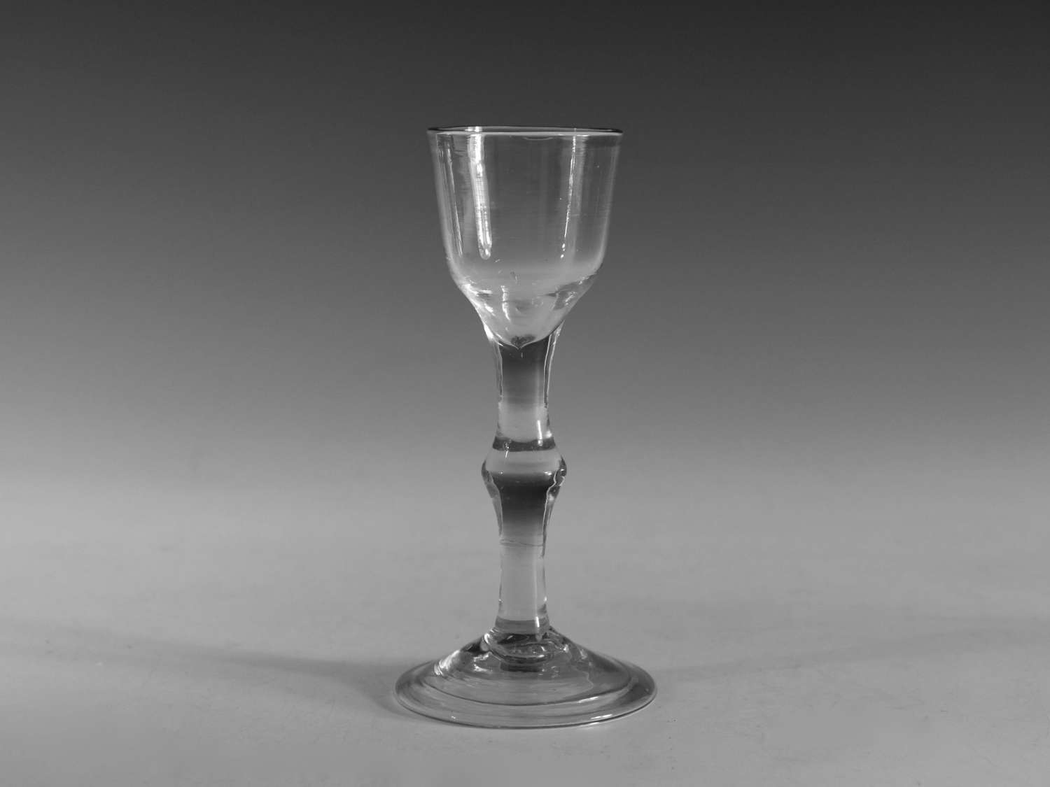 Antique wine glass balustroid English c1750