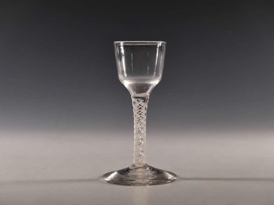 Antique wine glass opaque twist c1765