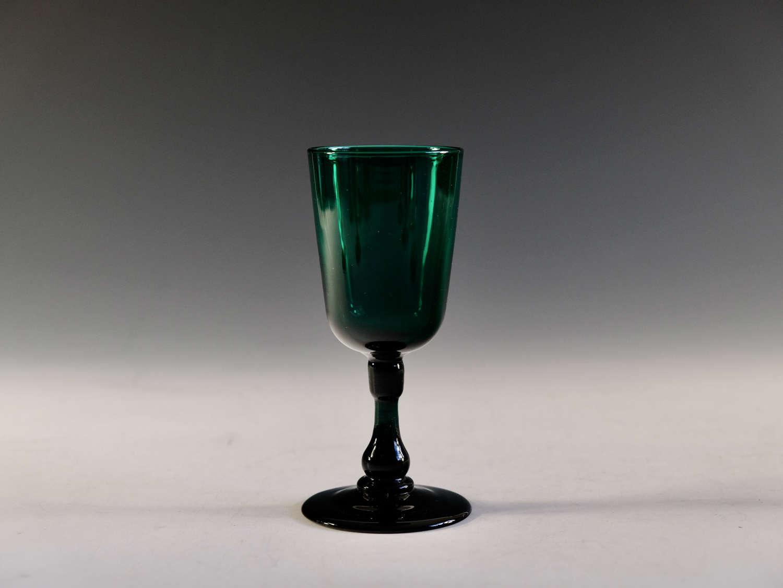 Antique wine glass green English c1840