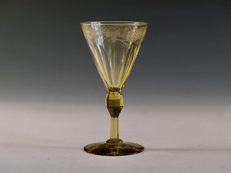 Antique wine glass amber English c1840
