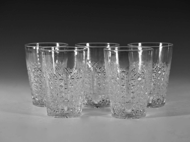 Antique cut glass tumblers set of five English c1890