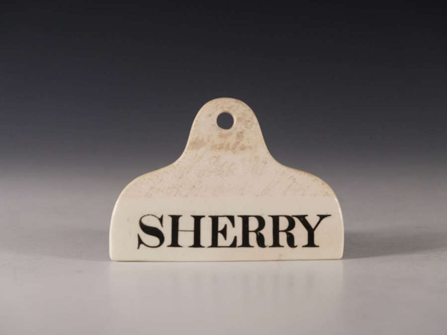 Antique bin label Sherry English early 19th century