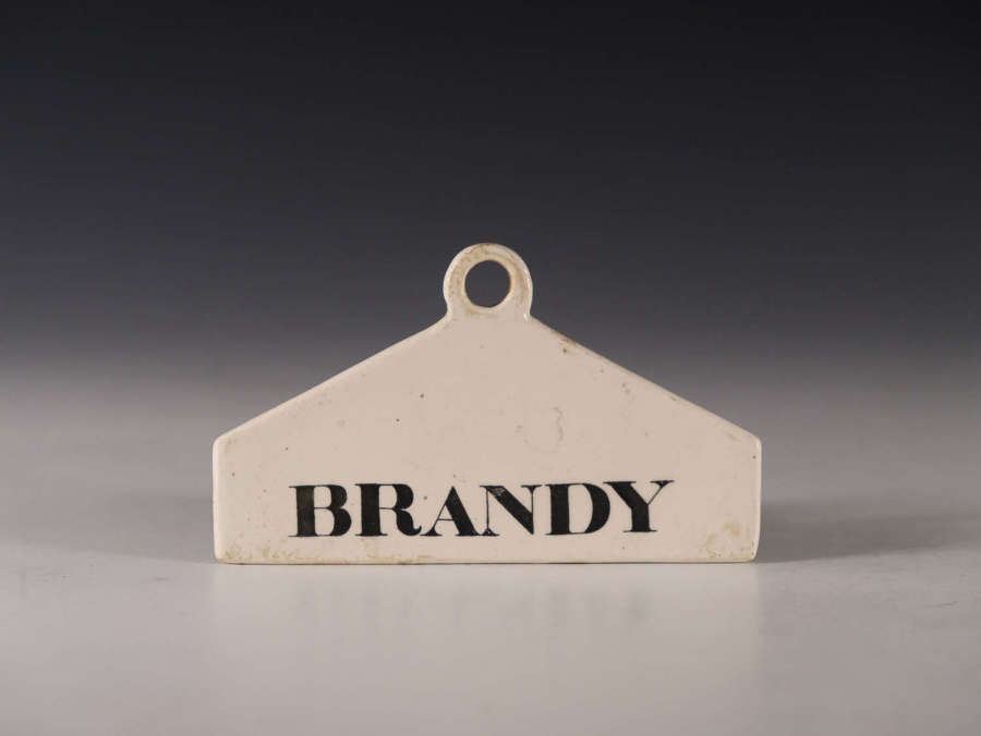 Antique bin label Brandy English early 19th century
