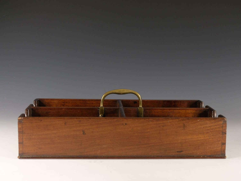 Antique wine bottle carrier mahogany English c1820