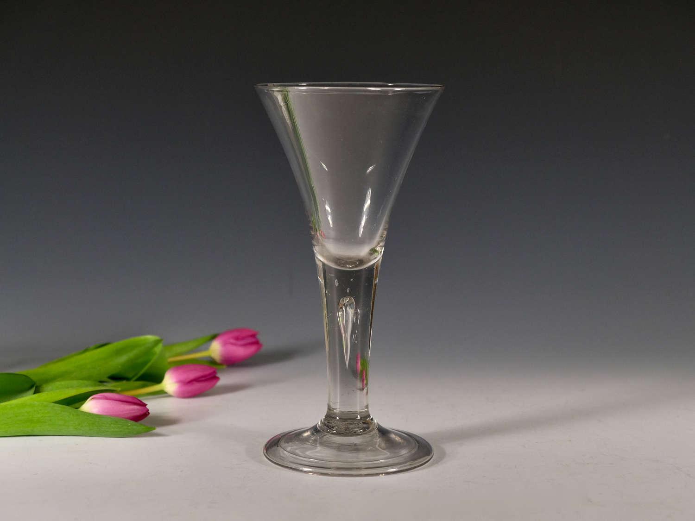 Antique wine goblet plain stem English c1750
