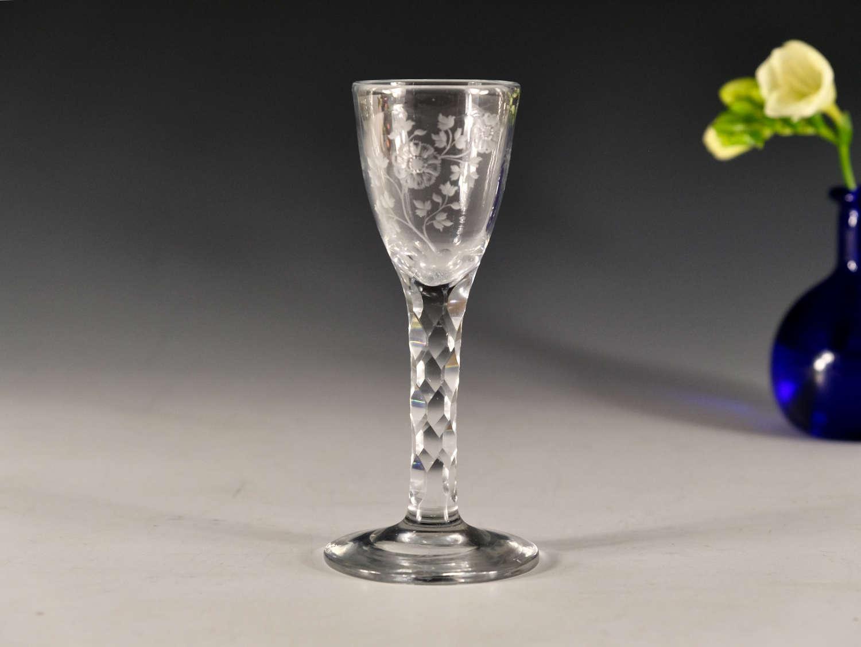 Antique wine glass facet stem English c1780