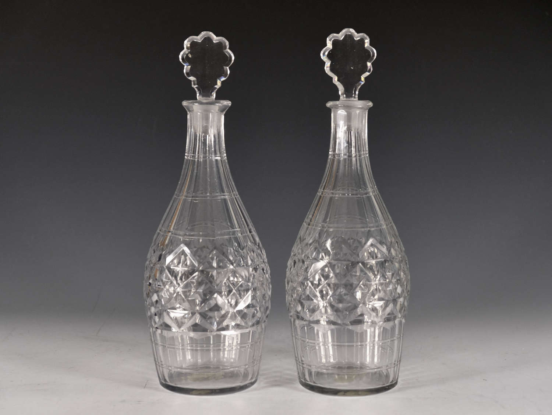 Antique pair of decanters Indian club English c1770