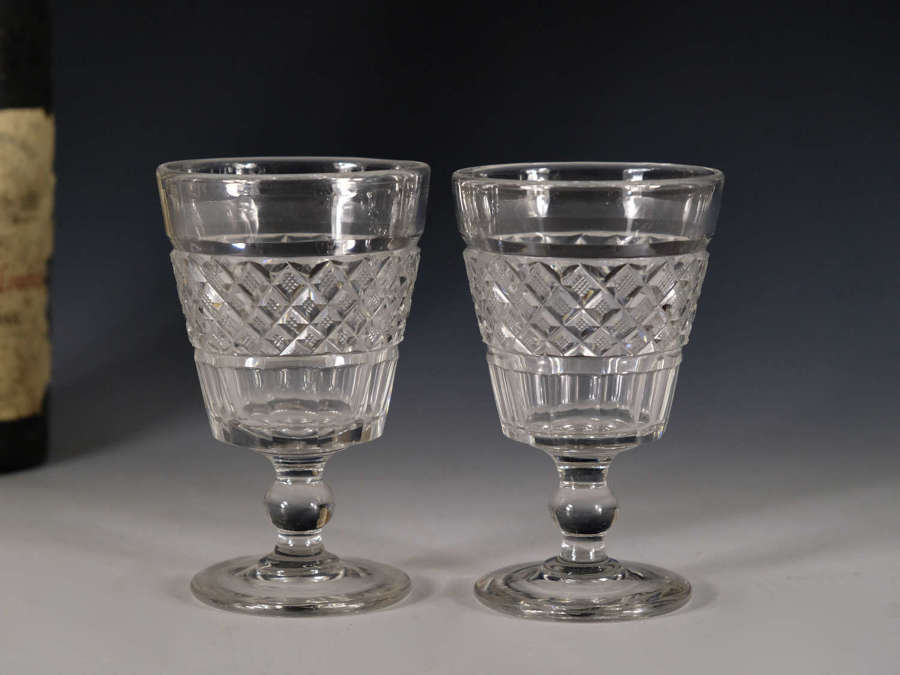 Antique rummer pair of bucket bowl English c1820