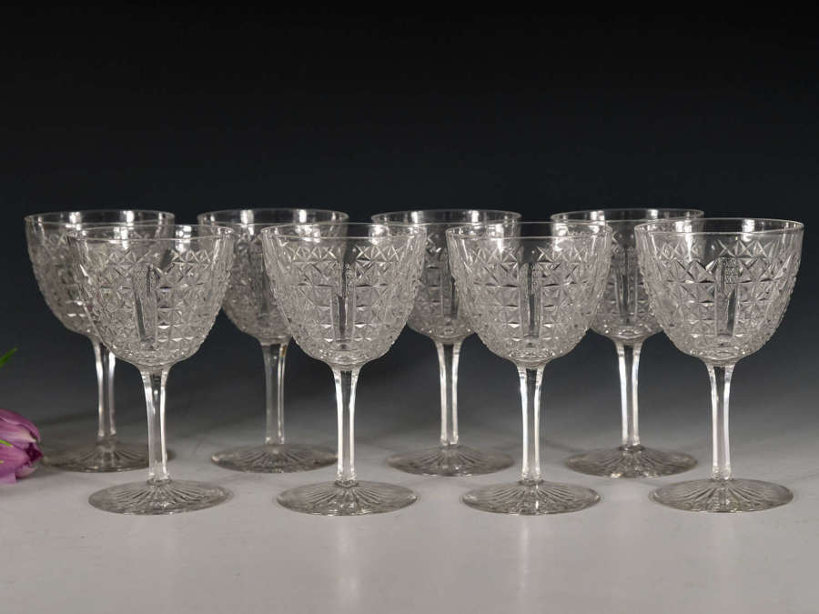 Antique wine glasses Set of Eight English c1880