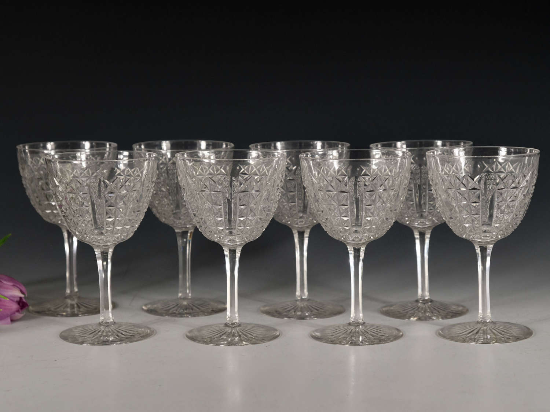Antique wine glasses Set of Eight English c1880