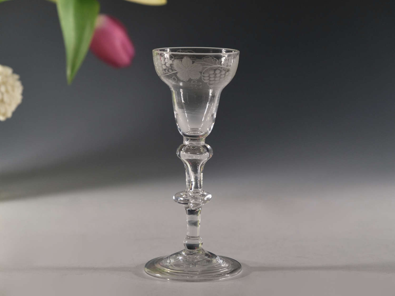 Antique wine glass Balustroid English c1740/50