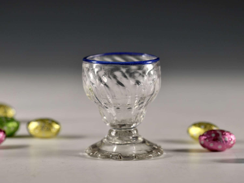 Antique bonnet glass blue rim English c1780